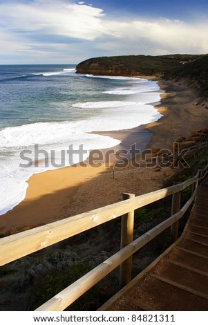 Steps down to Bell's beach on the Great Ocean road in Victoria Australia. - stock photo