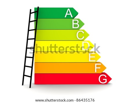 steps in energy efficiency category - stock photo