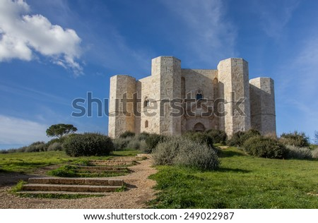 Steps leading to the Castel Del Monte in Italy - stock photo