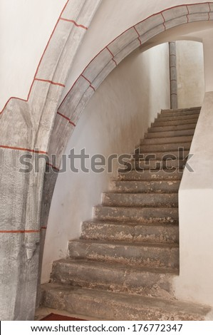 steps leading to the first floor - stock photo