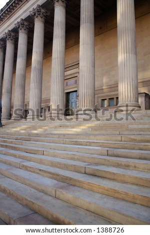 steps leading up to a museum or courthouse - stock photo