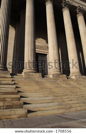 steps leading up to a museum or courthouse 2 - stock photo
