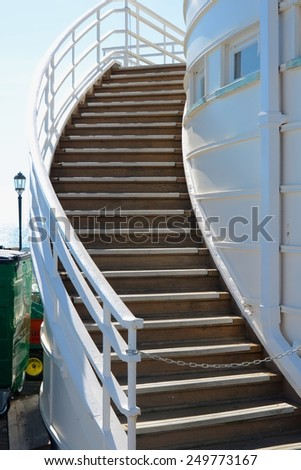 Steps on pier at Worthing, West Sussex, England - stock photo
