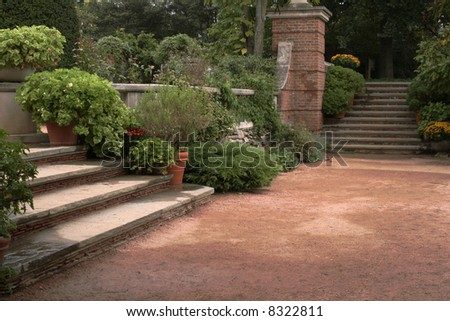 Steps to English Garden - stock photo