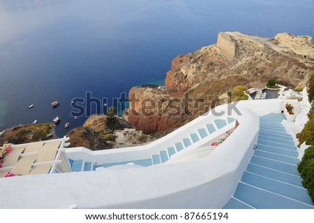Steps to the Beach, Greece - stock photo