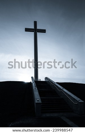 Steps to The Papal Cross in Dublin Phoenix Park in monochrome - stock photo