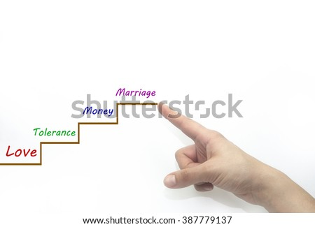 Steps up to marriage path. love concept. isolated - stock photo