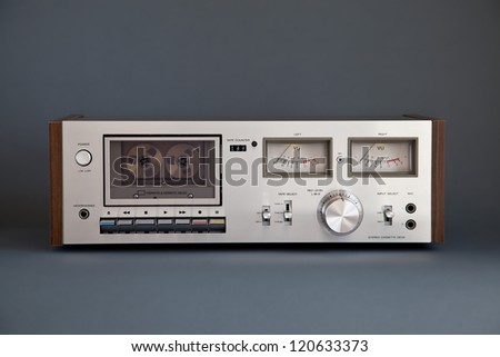 Stereo Cassette Tape Deck Analog Vintage - stock photo