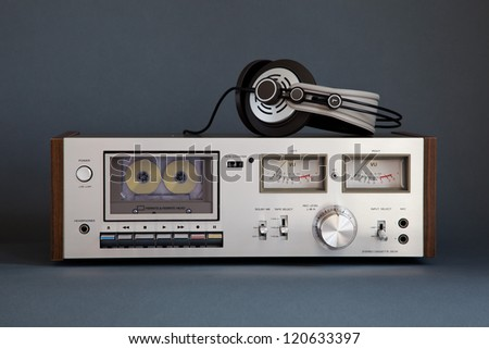 Stereo Cassette Tape Deck Analog Vintage - stock photo