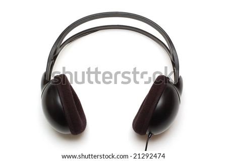 Stereo headphones on white background - stock photo