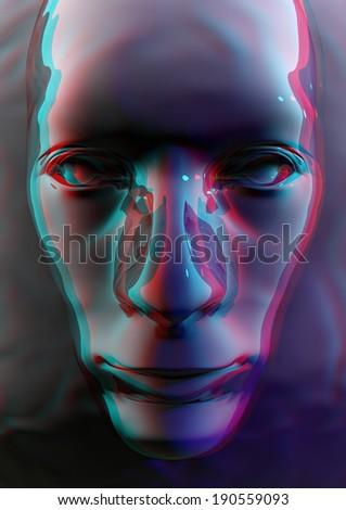 Stereo Liquid Face Render - stock photo
