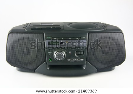 Stereo radio with cassette and CD player on white - stock photo