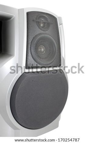 Stereo speaker isolated on white - stock photo