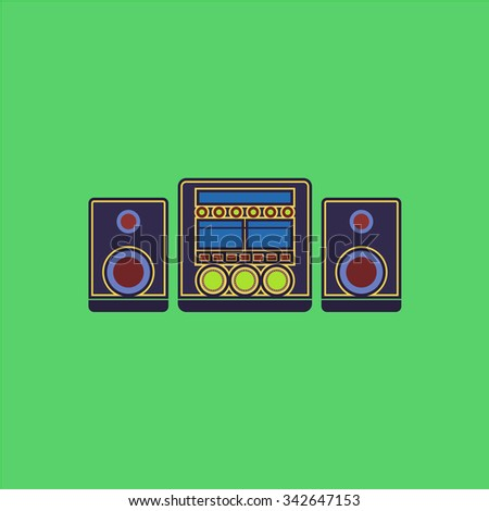 Stereo system. Colorful retro flat icon - stock photo