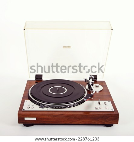 Stereo Turntable Vinyl Record Player Analog Retro Vintage Open - stock photo
