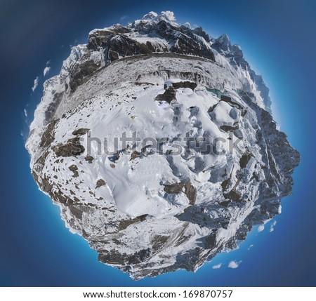 Stereographic Projection of a 360 Degrees Panoramic View from Gokyo Ri over Mount Everest, Lhotse, Gokyo Lake, and the Ngozumpa Glacier, Himalaya, Nepal - stock photo