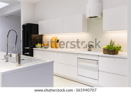 Sterile and light kitchen in the house  - stock photo