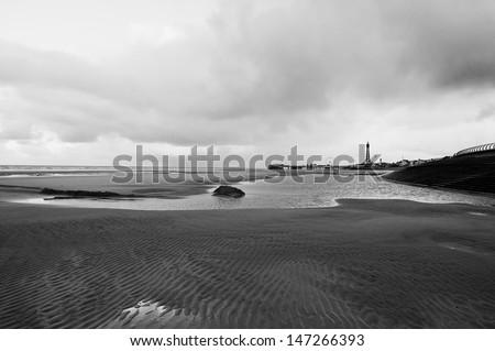 Sterile atmosphere, Blackpool beach, UK - stock photo