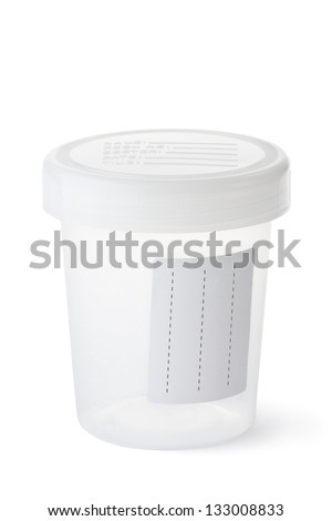 Sterile medical container for biomaterial. Isolated on a white. - stock photo