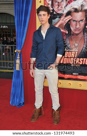 """Sterling Beaumon at the world premiere of """"The Incredible Burt Wonderstone"""" at the Chinese Theatre, Hollywood. March 11, 2013  Los Angeles, CA Picture: Paul Smith - stock photo"""