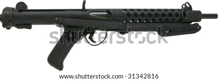 sterling machine gun with folding stock isolated on white - stock photo