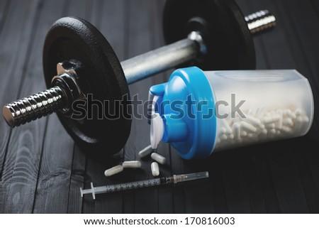 Steroids concept, horizontal shot - stock photo