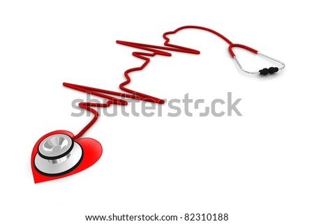 Stethoscope and a silhouette of the heart and ECG - stock photo