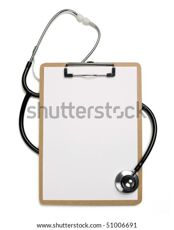 Stethoscope and blank clipboard with a sheet of white paper on it. - stock photo