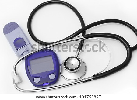 Stethoscope and device for measuring blood sugar level isolated on white background - stock photo