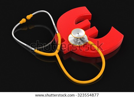 stethoscope and Euro (clipping path included) - stock photo