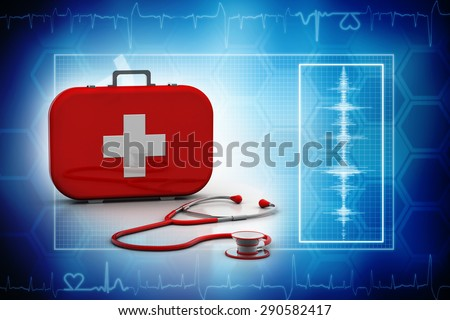 Stethoscope and First Aid Kit isolated - 3D Render - stock photo