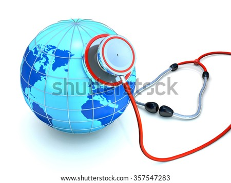 Stethoscope and globe are on white background. - stock photo