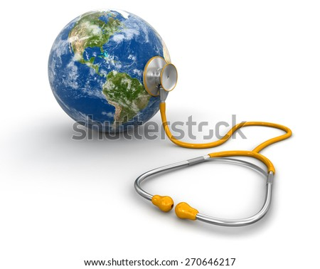 stethoscope and globe (clipping path included) Elements of this image furnished by NASA - stock photo