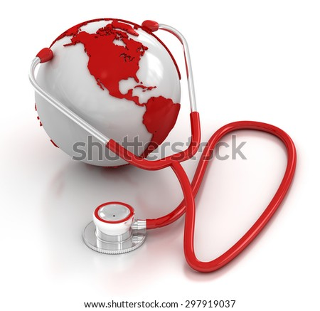 Stethoscope and globe , This is a computer generated and 3d rendered picture. - stock photo