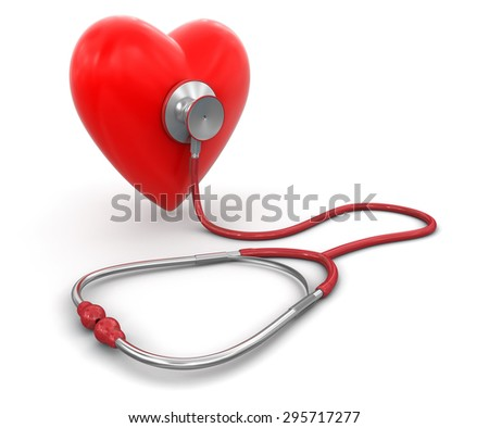 stethoscope and heart (clipping path included) - stock photo