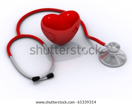 stethoscope and heart isolated in white background - stock photo