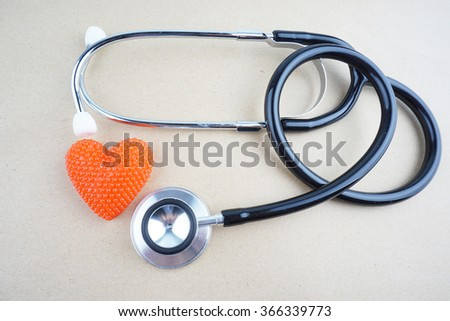 stethoscope and heart shape  - stock photo