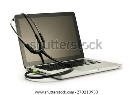 Stethoscope and laptop - stock photo