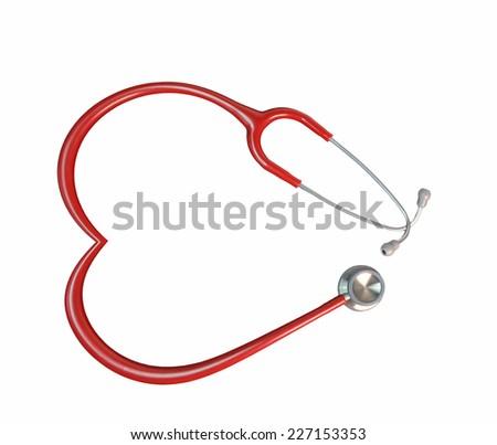 stethoscope cardiology - red like heart - stock photo