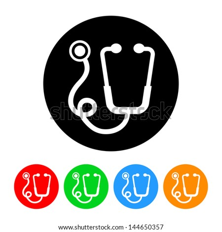 Stethoscope Icon with Color Variations.  Raster version, vector also available. - stock photo