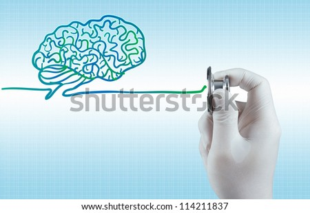 Stethoscope in hand with brain sign as medical concept - stock photo