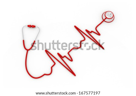 Stethoscope in shape of electrocardiogram line, Stethoscope in the shape of a Heart Beat on a ECG - stock photo