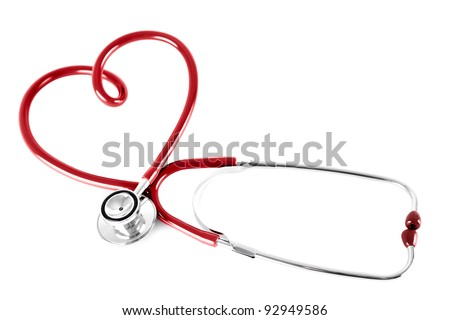 stethoscope in shape of heart, isolated on white - stock photo