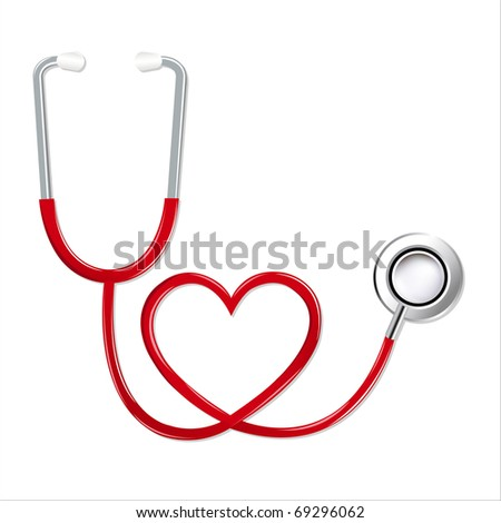 Stethoscope In Shape Of Heart, Isolated On White Background - stock photo