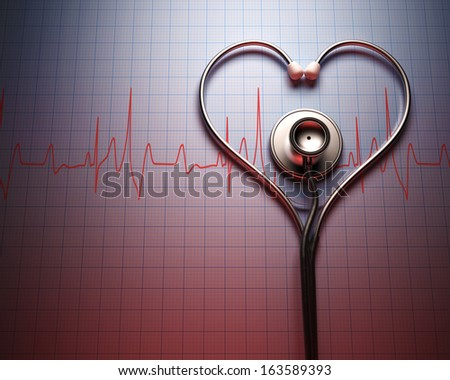 Stethoscope in shape of heart on a graph of the patient's heartbeat. - stock photo