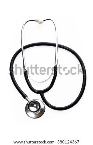 Stethoscope isolated on white. Detailed image of medical instrument. - stock photo