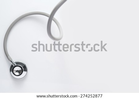 Stethoscope isolated on white with copy space  - stock photo