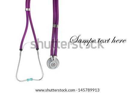 Stethoscope isolated on white with room for text - stock photo