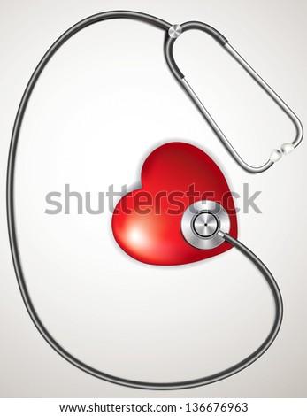 stethoscope measuring heartbeat. Rasterized illustration. Vector version in my portfolio - stock photo