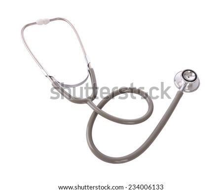 Stethoscope of doctor isolated on white background. - stock photo